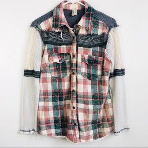 BKE Gimmicks   Boho Plaid Flannel Western Shirt